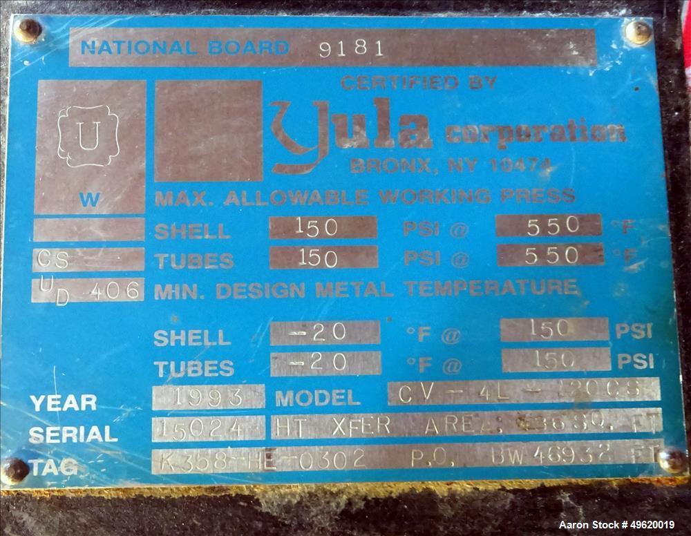 Used- Yula U Tube Heat Exchanger, 486 Square Feet, Model CV-4L-120CS, Horizontal