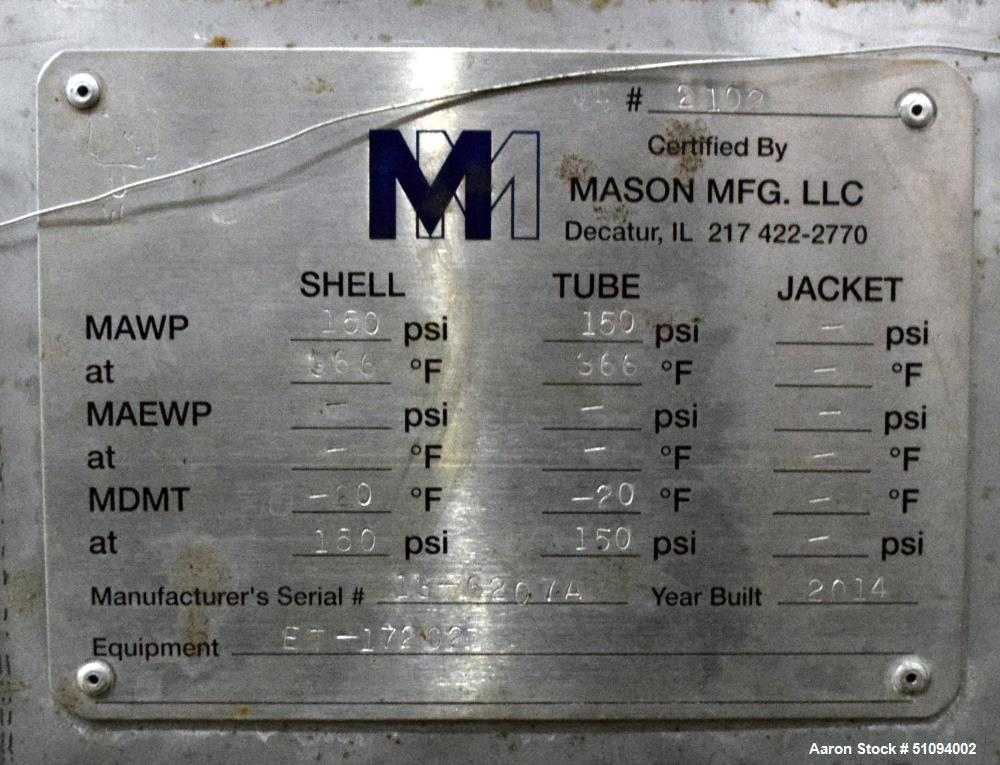 Used- Mason Manufacturing 4 Pass Shell & Tube Heat Exchanger