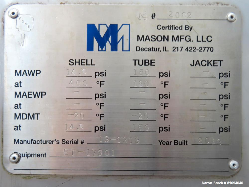 Used- Mason Manufacturing 4 Pass U Tube Shell & Tube Heat Exchanger, Approximate 141 Square Feet, Horizontal. 316L Stainless...