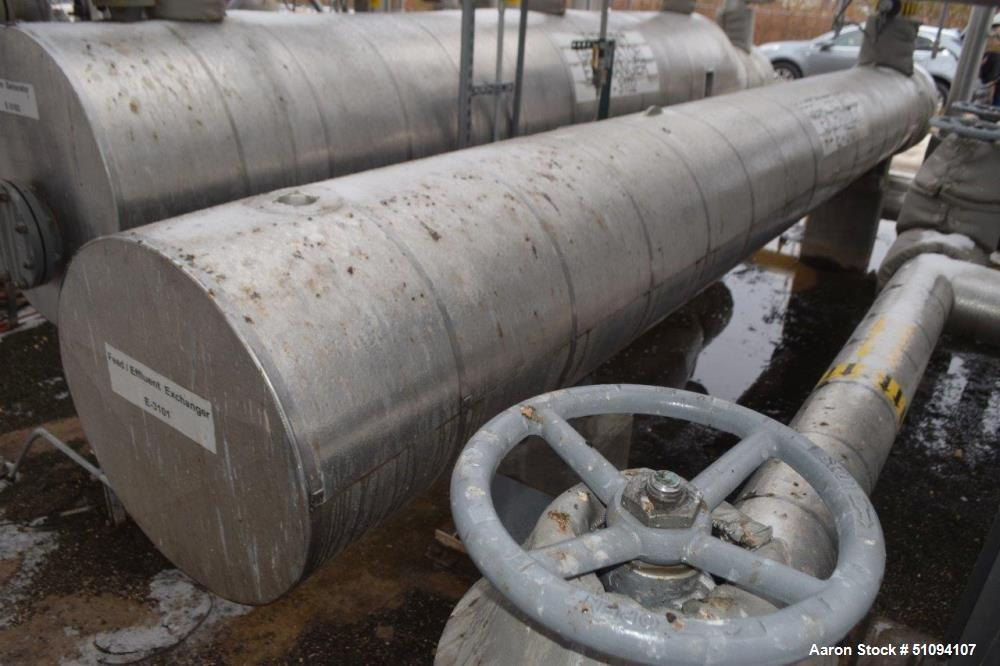 Used- J.F.D. Tube & Coil Products 4 Pass U Tube Shell & Tube Heat Exchanger, Approximate 496 Square Feet, Horizontal. Carbon...