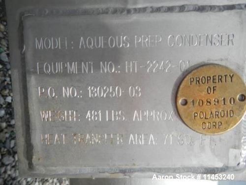 Used- Stainless Steel Allegheny Bradford Shell & Tube Heat Exchanger