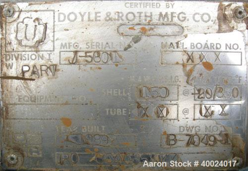 Used: Doyle and Roth 4 pass shell and tube heat exchanger, 236 square feet, vertical.Type BEM15-80. 316L stainless steel she...