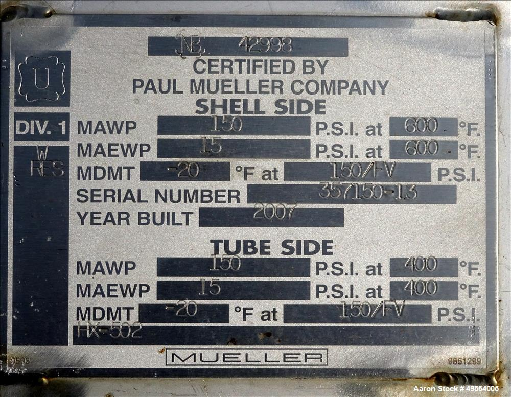 Unused- Mueller U Tube Shell and Tube Heat Exchanger, 56 square feet