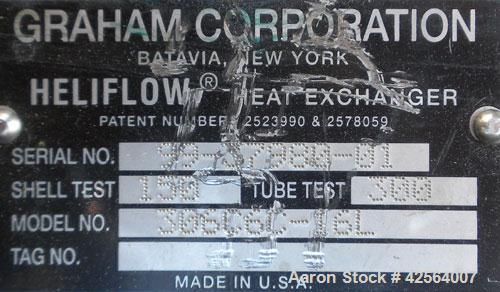 Used- Stainless Steel Graham Heliflow Heat Exchanger, model 30GC6C-16L, approximately 30 square feet