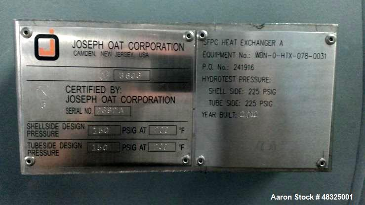 Unused- Joseph Oat Corporation 8 Pass U Tube Shell & Tube Heat Exchanger.