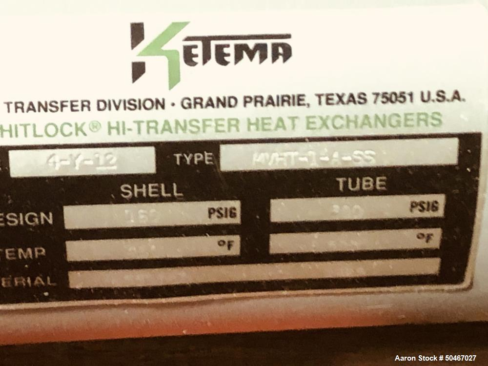 Unused sq ft Ketema shell and tube heat exchanger