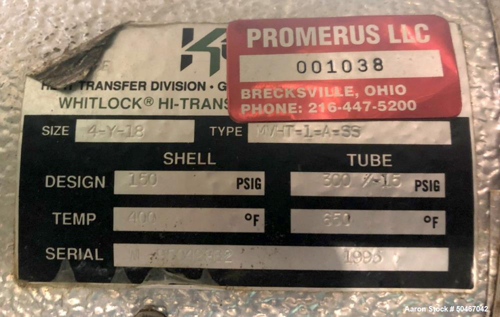 Used-7.6 sq ft Ketema shell and tube heat exchanger