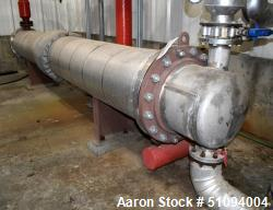 Used- Mason Manufacturing 4 Pass Shell & Tube Heat Exchanger, Approximate 448 Square Feet, Horizontal. Carbon Steel shell ra...