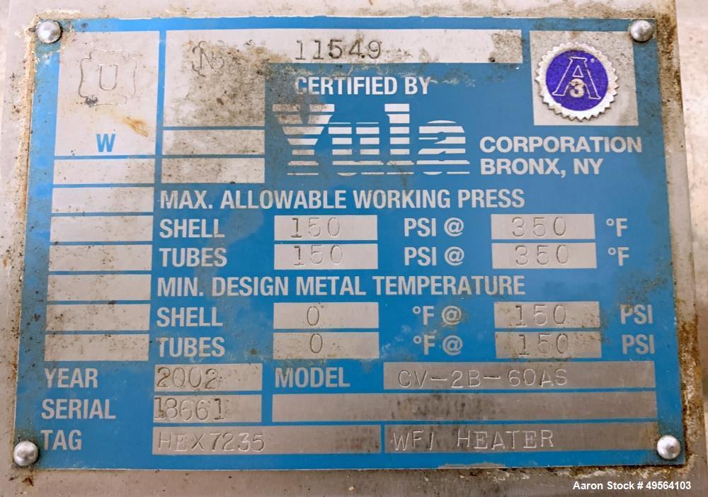 Used- Yula Shell and Tube Heat Exchanger, 23 Square Feet, Model CV-2B-60AS
