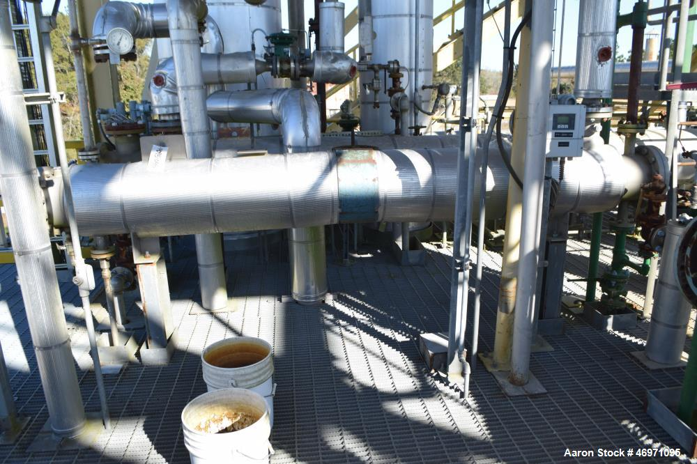 Used- Yula 2 Pass Shell & Tube Heat Exchanger, 58 Square Feet, Model WC-2D-120BS, 316L Stainless Steel, Horizontal. 316L Sta...