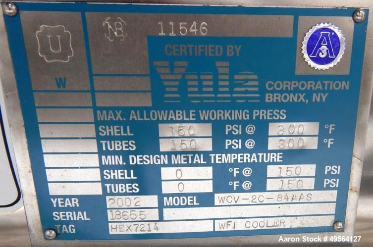 Used- Yula Shell and Tube Heat Exchanger, 82 Square Feet, Model WCV-2C-84AAS