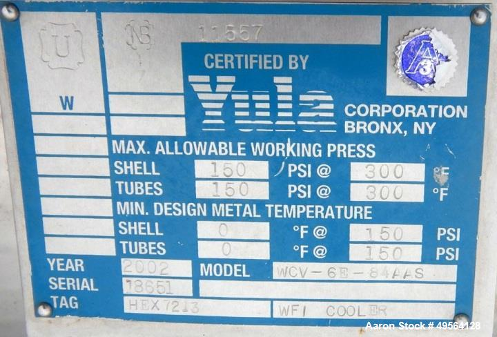 Used- Yula Shell and Tube Heat Exchanger, 233 Square Feet, Model WCV-6E-84AAS