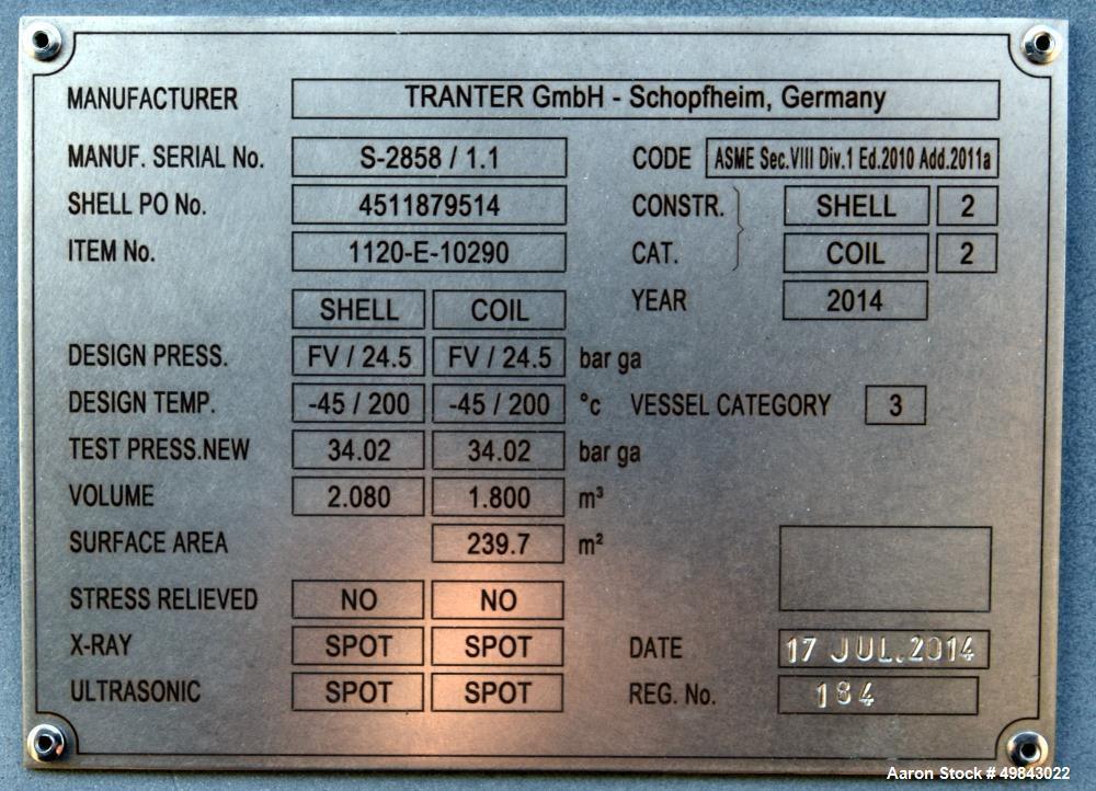 Unused- Tranter GmbH Horizontal Spiral Heat Exchanger