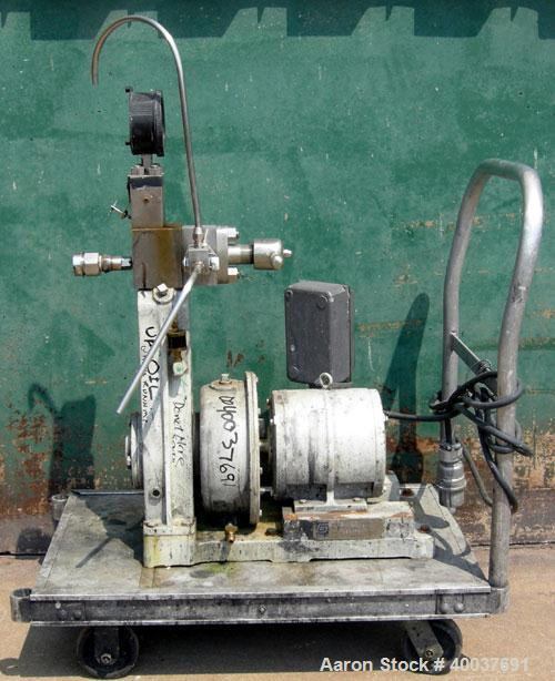 Used- Gaulin Homogenizer, Model 31M3TA, 316 Stainless Steel. Approximately 31 gallons per hour, single stage valve, 3000 psi...