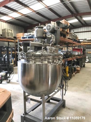 Used- Stainless Steel Triple Motion Vacuum Sanitary Kettle. 100 Gallon
