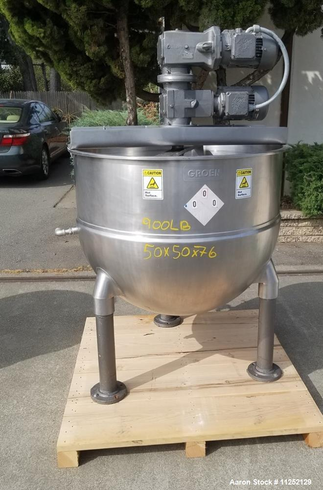 Used-Groen 150 Gallon Stainless Steel Jacketed Kettle with Double-Motion Scrape