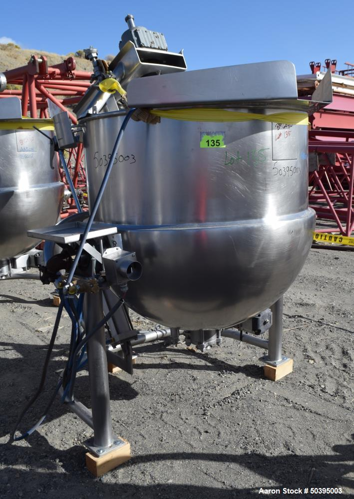 Used- Hamilton Style CW Tilting Kettle, 150 Gallon, 316 Stainless Steel.