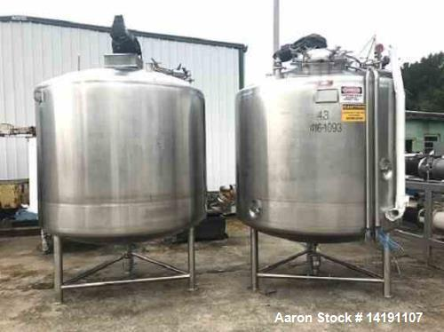 Used- JV Northwest 1200 Gallon (4500 Liter) Sanitary Pharmaceutical Processor