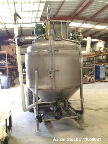 Used- Vacuum Mix Kettle (approximatley) 500 Gallons. Jacketed and equipped with Scrapper agitation driven by 5 HP, 220/440 v...