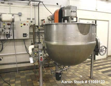 Used- 300 Gallon LEE Jacketed Tilting Mixing Kettle. Double motion scrape agitation. Jacket rated 40 PSI at 300 deg.F. Model...