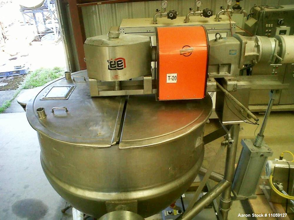 Used- 300 Gallon Lee Jacketed Tilting Mixing Kettle. 316 stainless steel. Double motion scrape agitation. Jacket rated 40 PS...