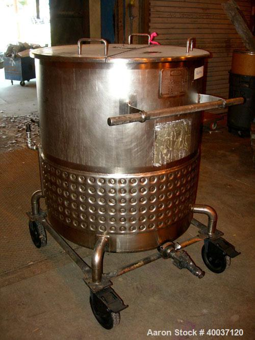 """Used-Used: Walker Kettle, 145 gallon, 304L stainless steel, vertical. 34"""" diameter x 36"""" straight side, open top with a 1/3 ..."""
