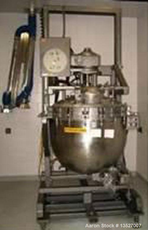 Used-Alloy & Steel Fabrication of Canada 66 gallon/250 liter double motion kettle. T316 stainless steel contact parts, sanit...