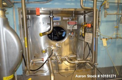 Used- APV Crepaco 7,000 Gallon (Approximately) Stainless Steel Vertical Ammonia Jacketed Tank. Jacket rated at 142 psi at 10...