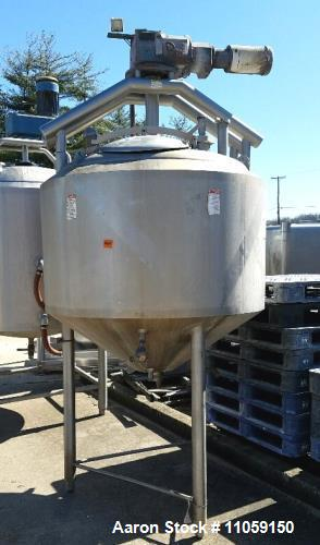 Used- 250 Gallon APV Crepaco Jacketed Double Motion Sanitary Mix Tank/Kettle. Has provisions scraper blades. Jacket is 75 ps...