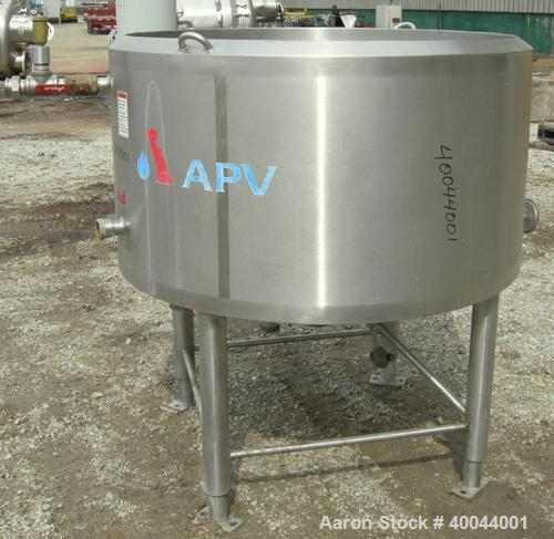 """Used:  APV Crepaco Approximate 238 Gallon Kettle, 304 Stainless Steel.  50"""" diameter x 28"""" straight side.  Dish bottom, no t..."""