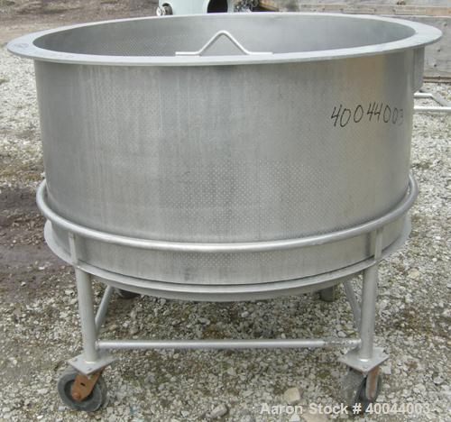 "Used:  Perforated Basket For An APV Crepaco Kettle, 304 Stainless Steel.  45"" diameter x approximately  23"" deep.  1/16"" per..."