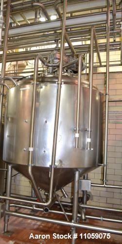 Used- 800 Gallon Crepaco Jacketed Mix Tank / Processor with Sweep Agitation. Jacket rated 75 PSI. Dish top, cone Bottom. Dri...