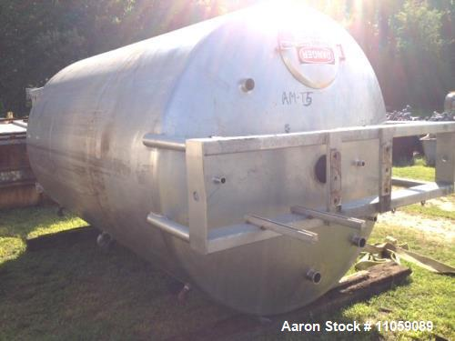 "Used- DCI, 3000 gallon, Stainless Steel, Jacketed Tank. Approximately 7' ID x 11' T/T. (7'6"" OD x 17'10"" OAH). Has mount for..."