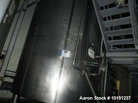 "Used- Feldmeier Jacketed Tank. Approximate 5,000 gallon, stainless steel, Vertical. Approximate 96"" diameter x 168"" straight..."