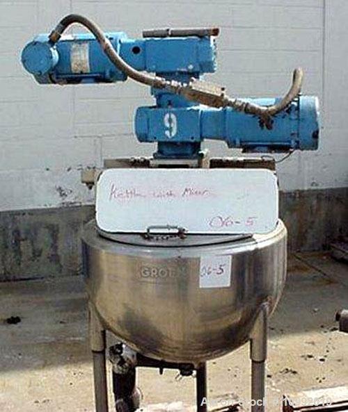 "Used- 25 gallon Groen 316 stainless steel kettle, 80 PSI at 325 deg F, 24"" diameter x 17"" deep, stainless steel sweep agitat..."