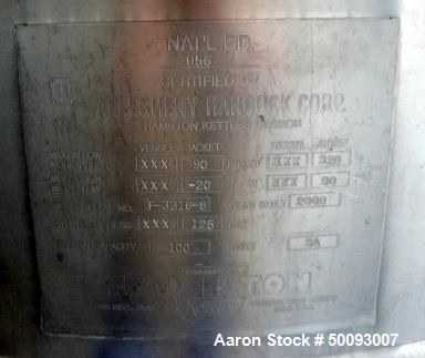 Used- Hamilton Twin Agitated Kettle, Model SA 100, 100 Gallon