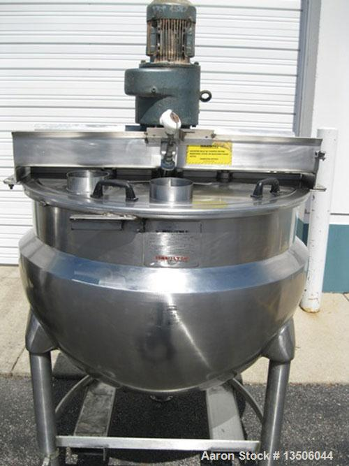 "Used-Hamilton SA 150 Single Motion Scraped Surface Kettle, 150 Gallon, (missing scraper blades).  Approximately 48"" diameter..."