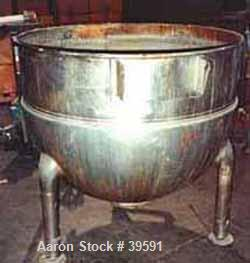 "Used- Hamilton Kettle, Style SA, 200 Gallon, Stainless Steel. 48"" Diameter x 12"" straight side x jacketed hemi-bottom, rated..."