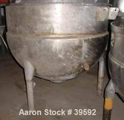 """Used- Hamilton Kettle, Style SA, 300 Gallon, Stainless Steel. 48"""" Diameter x 14"""" straight side x jacketed hemi-bottom, rated..."""