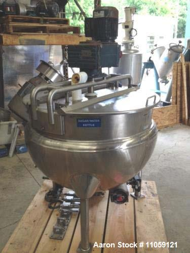 Used- 100 Gallon Hamilton Jacketed Mix Kettle. Style SA. Sweep mixer with scraper blades driven by 2 hp, 230/460 volt, 3 ph,...