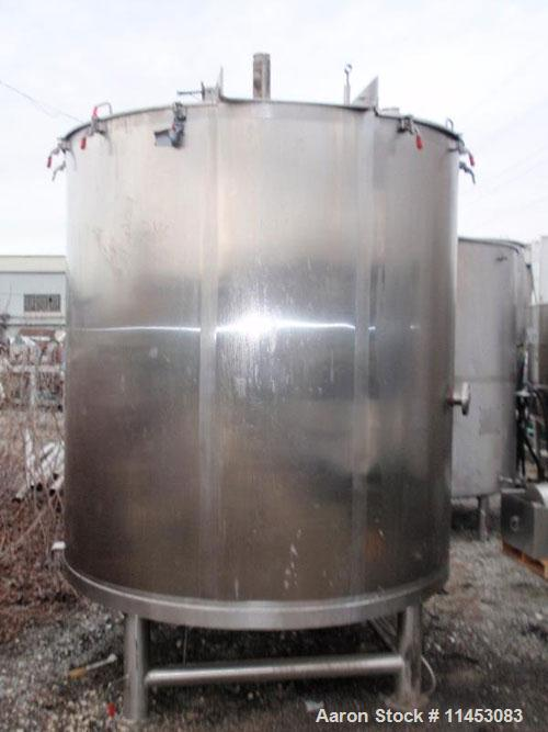 "Used-1000 Gallon Lee Double Motion Kettle, Model 1000D10S. 316 stainless steel construction, 6' diameter x 77"" deep, flat hi..."