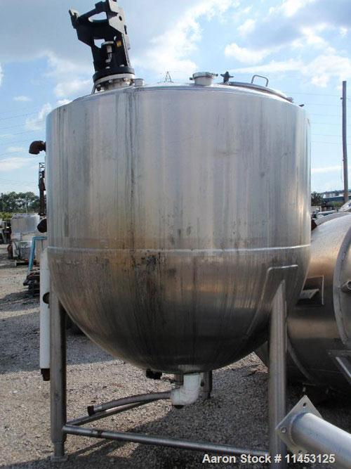 Used-800 Gallon Lee Kettle, Model 800D. 316 stainless steel construction, dish top, hemispherical bottom, jacketed bottom an...