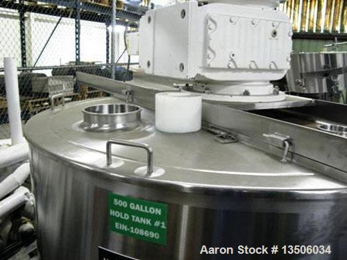 Used-Lee 500 Gallon Model D9MT 316 Stainless Steel Process Kettle. Equipped with side and bottom scrape agitator with center...