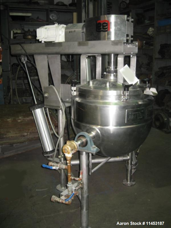 """Used-25 Gallon Lee Double Motion Kettle, Model 25CHD9MT.  Stainless steel construction, 23"""" diameter x 20"""" deep, dished remo..."""
