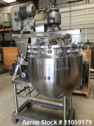 Used- 100 Gallon Stainless Steel Triple Motion Vacuum Sanitary Kettle. Internal rated 15 psi at 287 Deg.F. Jacket rated 40 p...