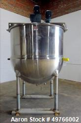 Used- Trinity Industries / Hamilton Kettle, 750 Gallon, 304 Stainless Steel, Vertical. Jacket rated 80 psi at -20 to 313 deg...