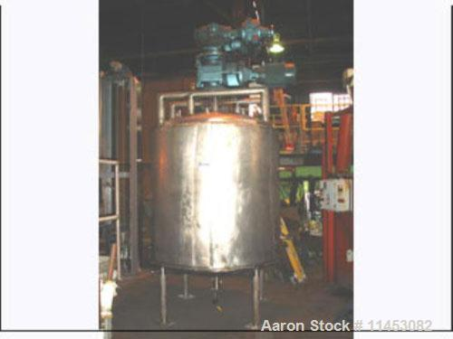 """Used-1000 Gallon Mueller Twin Motion Kettle. Stainless steel construction, 5'6"""" diameter x 5'6"""" straight side, dish top and ..."""