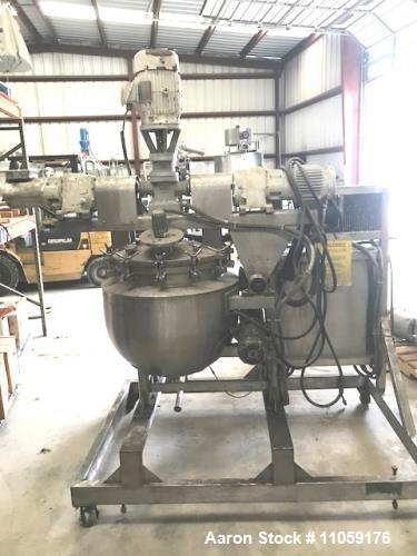 Used- 30 Gallon Triple Motion Jacketed Vacuum Kettle, built by JC Pardo and Gifford-Wood, Model 30 GAL AGI. Internal rated 1...