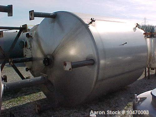 Used-2000 Gallon Paul Mueller Jacketed Mix Tank. 316L stainless steel, model F. Internal pressure 15 psi at 250 deg F, jacke...