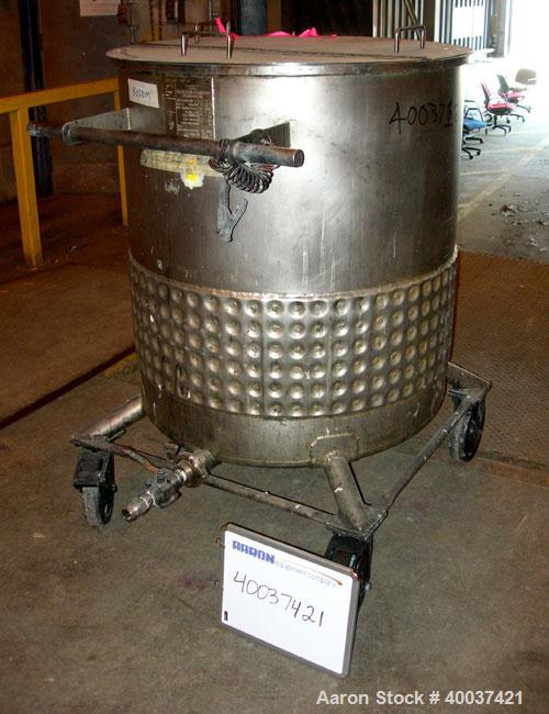 """Used- Precision Stainless Kettle, 150 gallon, 304L stainless steel, vertical. 34"""" diameter x 36"""" straight side, open top wit..."""